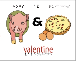 NBP Valentine card featuring an image of a hog and a quiche.