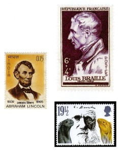 3 stamps featuring Abraham Lincoln, Charles Darwin, and Louis Braille