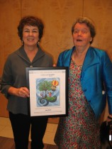 Diane Croft presents Judy Dixon with NBP's 2013 Volunteer Award