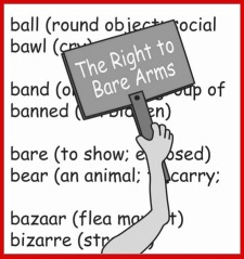"Cover image for ""A Writer's Companion"" shows a bare arm holding a sign: ""The Right to Bare Arms"""