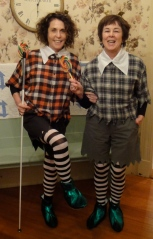 JoAnn Becker and Diane Croft dressed for Halloween as the Lollipop Guild characters from the Wizard of Oz