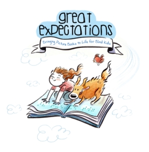 Great Expectations logo of a girl and her dog on a flying book