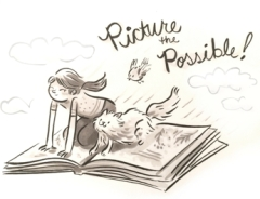 Picture the Possible sketch of a girl and her cat on a flying book