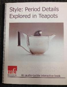 MFA book in print and braille on period teapots