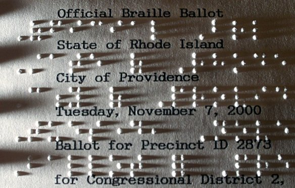 Braille ballot from Rhode Island