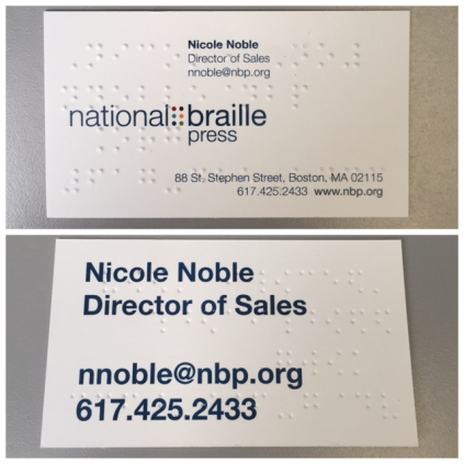 Front and back of braille business card